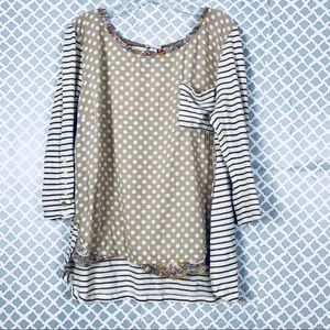 [ Anthropologie ] Postmark Striped Dotted Blouse